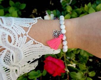Bracelet beads charm of tassel and lotus flower marble