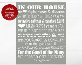 Military Retirement Gift, In Our House, US Army, Air Force, Navy, Unique Military Gift, Military Family, Retired, Veteran, Grandfather