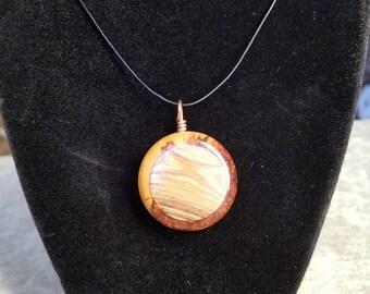 Quaker alder burl and cottonwood pendant