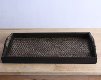 Rectangular Small Tray, Bamboo tray, Wood tray, For serving drinks and food
