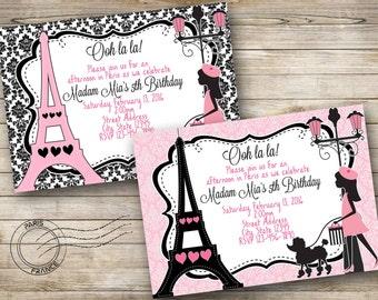 Paris Birthday Digital Invitation - Pink, White, Black