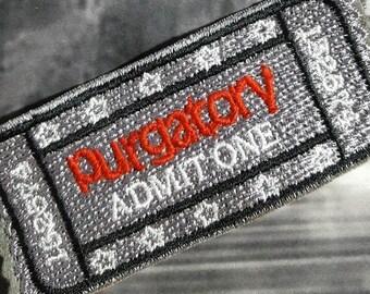 Ticket stub patch, purgatory ticket patch, movie stub patch, cinema ticket patch, admission ticket, purgatory pass, vegan film pass