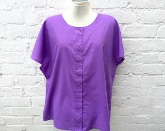 Purple vintage top, women's summer fashion