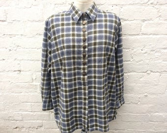 Flannel shirt, olive blue plaid top, oversized 90's fashion