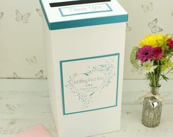 Personalised Floral Heart Wedding Post Box