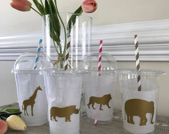 Golden Safari Party Cup, Baby Shower, 1st Birthday, 16 oz. Plastic Disposable Birthday Cup With Tops & Straw, set of 8,10,12,15,25