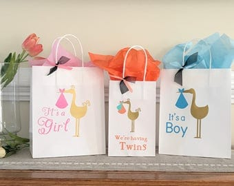 Stork Gift Bags, Baby Shower, Gender reveal, Favors, Handcrafted, Medium & Small Bag-Ships 2-5 Days