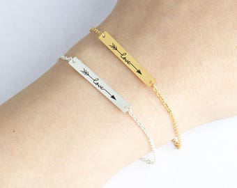 Boho Love bracelet plated silver love Bohemian romantic woman Word arrow