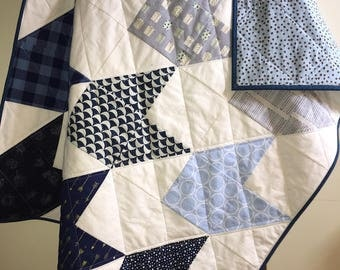 Modern Baby Quilt, Baby Boy, Patchwork, Nursery, Baby Shower Gift, Bedding, Quilted Baby Blanket, Play Mat, Ready to Ship