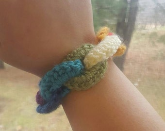 Funky Rainbow Crochet Linked Bracelet