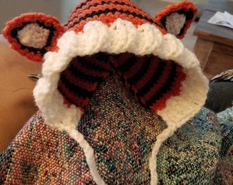 Tiger Baby Bonnet and stuffie