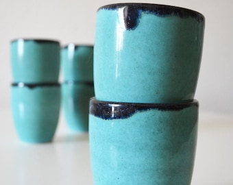 Set of 6 70s earthenware mug pottery cups turquoise - blue