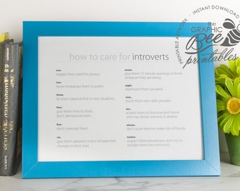 How to Care for INTROVERTS, Printable Art, Office Art