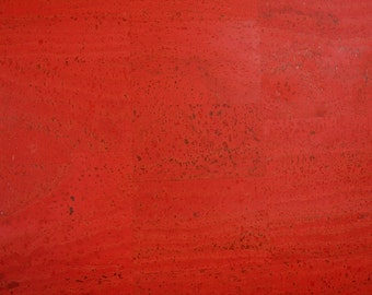 Cork Fabric (US Supplier) - Red - Cork Leather - Vegan - Eco Friendly Leather Alternative - You Choose Your Cut - Made in Portugal