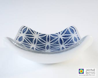 Flower of Life, fused glass bowl, blue and white, trinket dish, cufflink bowl, sacred geometry, gifts for men