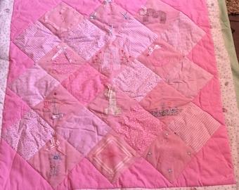 Pink Patchwork quilt A B C detail