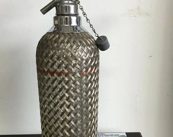 Vintage Soda Wire Mesh Seltzer Spritzer With Bulb Holder 1940