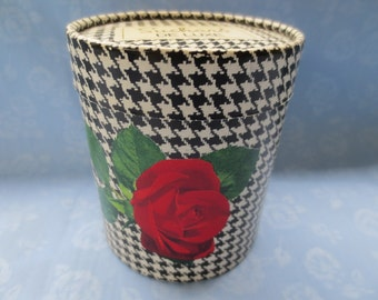 Vintage Suchard Chocolate Candy Box Houndstooth & Red Rose