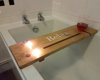 Bath Caddy Bath Shelf Bath Tray Ruscycled Relaxation Station Tablet/Phone & Wine Glass Holder (Can/Glass/Mug Holder On Request)