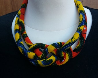 Ankara Rope Necklace -Tribal Necklace - Statement Necklace - African Jewelry - African Print Necklace