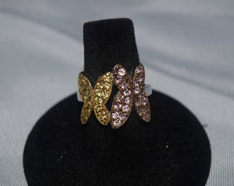 Pink and Yellow Butterfly Ring