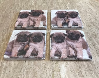 Pug coasters Natural Travertine