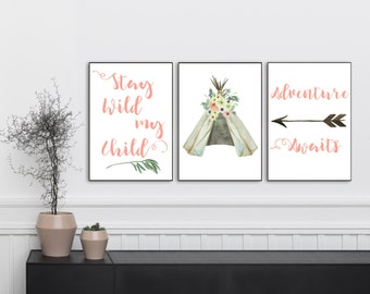 Coral Nursery Decor, Gift for Kids, Gifts for Sister, Tribal Nursery Decor, Tribal Baby Shower Printables, Nursery Printables, 8x10
