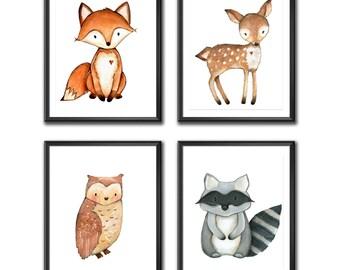 Forest Nursery Decor, Fox Nursery Wall Art, Baby Room Wall Art, Woodland Animal Prints, Nursery Digital Prints, Instant Download A4 Set of 4