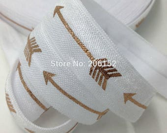 White with Gold Foil Arrows Geometric Design FOE Fold Over Elastic 5/8th Inch 16mm - per Yard