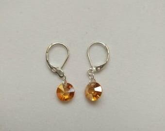 Sterling Silver Champagne Crystal Diamond Shaped Swarovski Bead Earring Wedding Jewelry