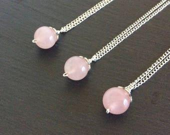rose quartz necklace, pink necklace, rose quartz jewelry, rose quartz pendant, rose quartz stone, crystal necklace, rose quartz