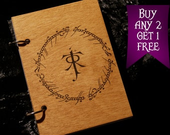 Tolkien wooden notebook / Lord of the Rings notebook / sketchbook / diary / Lord of the Rings journal / travelbook / Lord of the Rings gift