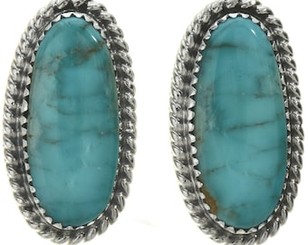 Navajo Southwest Turquoise Silver Earrings Twist Wire Studs