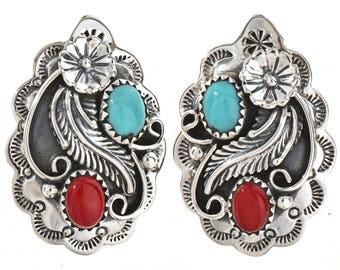 Turquoise Coral Post Earrings Navajo Silver Studs