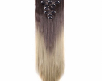 "Balayage Ombre Hair Extensions 26"" Dark Brown/Ash Blonde Ombre Clip In Extensions Long Straight Best Wavy Curly Hair Weave Wigs TOP QUALITY"