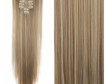 "Dark/Light Blonde Hair Extensions Blonde Clip In Hair Extensions 26"" Straight Full Set Doubt Weft Hair Weave TOP QUALITY #121"