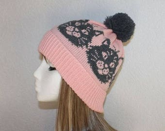 Pink beanie hat with Grey Cats - with or without Pompom option