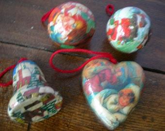 Set of 4 Vintage Retro Christmas Tree Ornaments Gift Idea Xmas Retro