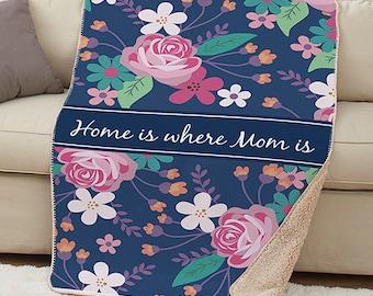 Personalized Mom Sherpa Throw Custom Name Gift