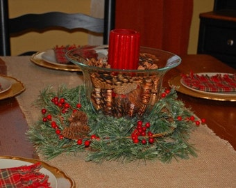 burlap table runner,  burlap runner,Christmas decorations