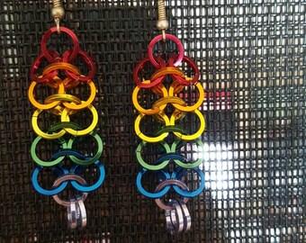Rainbow chainmail earings
