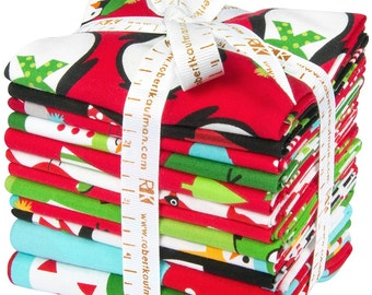Jingle Holiday Fat quarter bundle of 10 pieces + 2 panels Robert Kaufman