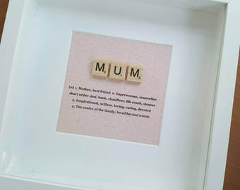 The definition of mum, wooden scrabble letter frame, gift for her, box frame, birthday gift, gift for mum, wall art, unique gift
