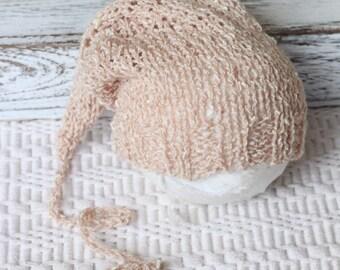 Knitted Latte , Beige, Sleeping Hat, New born sleeping Hat, Baby boy hat