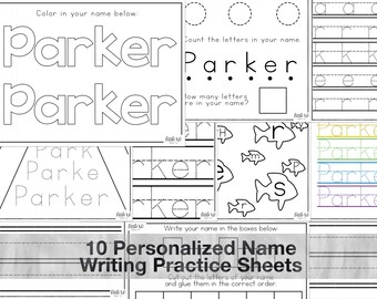 Personalized Practice Name Writing Sheets for Preschool/Kindergarten