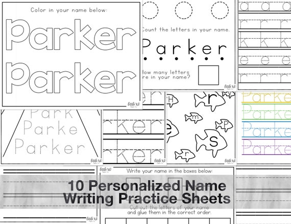 Personalized name handwriting sheets