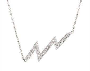 "14k white gold diamond ""lightning"" necklace"