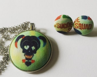 Suicide Squad, Harley Quinn, Joker Necklace Sets// Suicide Squad Fabric Cover Button Jewelry,  Harley Quinn Jewelry, Joker Jewelry