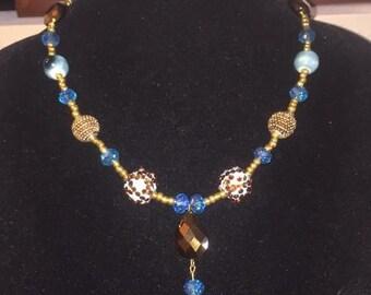 Handmade multi-style blue/gold bead necklace