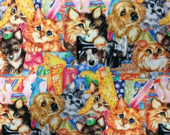 Cats and Dogs Cotton Fabric By The Yard Cat and Dog Sewing Quilting Fabric